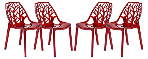 LeisureMod Cornelia Cut-Out Tree Design Modern Dining Chairs in Transparent Red, Set of 4