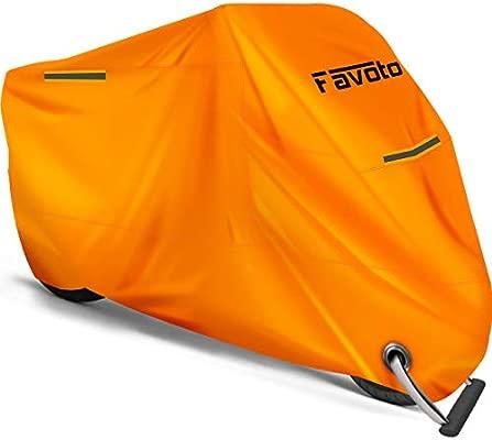 Favoto Funda para Moto Cubierta de la Moto 210D Impermeable Protectora a Prueba de UV Lluvia Polvo Viento Nieve Excremento de P/ájaro al Aire Libre XXL 245cm