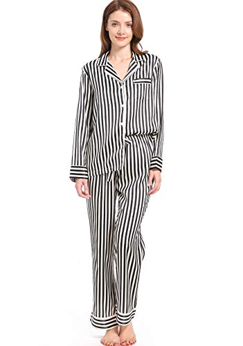 Serenedelicacy Women's Silky Satin Pajamas Striped Long Sleeve PJ Set Sleepwear Loungewear (Large / 12-14, Stripe Black Cream)