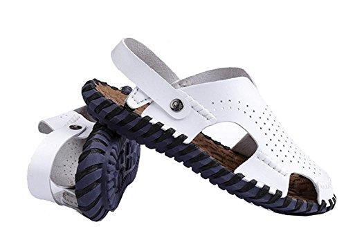 Zapatillas de playa de cuero de los hombres ocasionales pantalones de mano a mano de la playa, zapatillas de costura retro clásicos para los hombres White