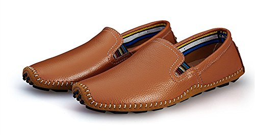 BIFINI Men's Cowhide Casual Driving Moccasins Shoes Slip On Loafer Brown by BIFINI (Image #4)