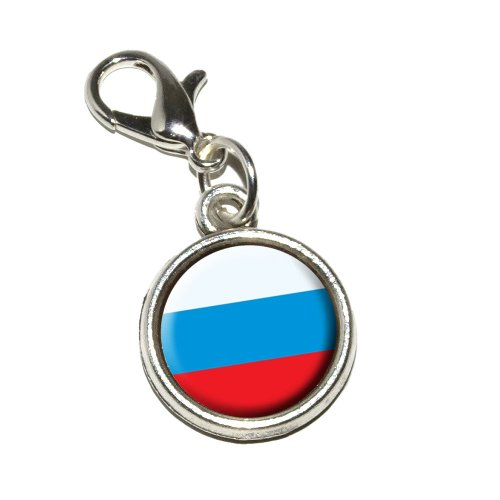 Graphics and More Russia Russian Flag Antiqued Bracelet Pendant Zipper Pull Charm with Lobster Clasp - Flag Zipper Pull