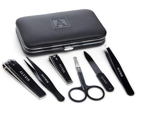 Manicure and Pedicure Kit for Men by Aluxie - Convenient, Time Saving, Luxury Grooming Gift Set, Travel-Size Leather Case - Stainless Steel