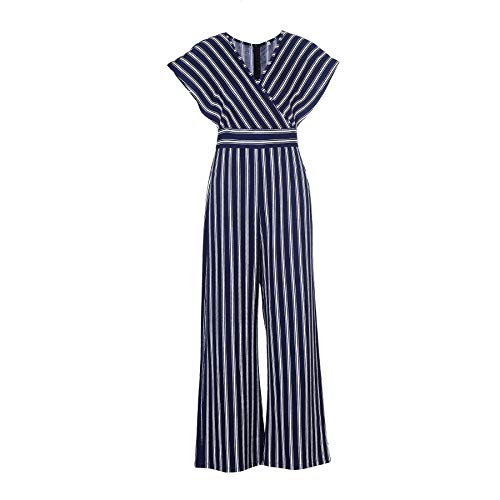 The Kuul Womens Bawting Sleeve V Neck Wide Leg Jumpsuit Casual Striped Bell Bottom Pants(Large, Navy) ()