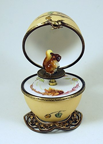 Authentic French Porcelain Hand Painted Limoges box Musical Egg with Squirrel ()