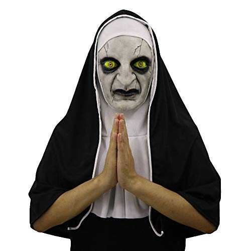 Clearance Sale!UMFun Halloween Scary Mask Props The Conjuring Devil Nun Horror Masks With Costume (B)