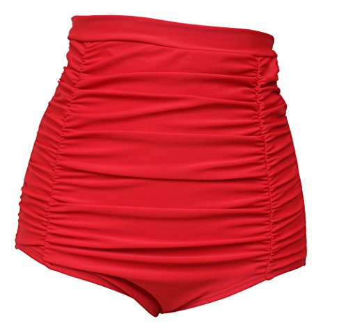 (Polkra Women's High Waisted Vintage Ruched Swim Short Gathered Bikini Bottoms)