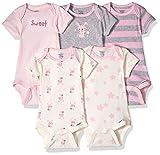 Gerber Baby Girls' 5-Pack Organic Short-Sleeve Onesies Bodysuit, Bunny, Newborn