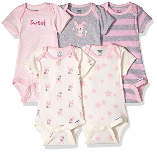 Gerber Baby 5-Pack Organic Short-Sleeve Onesies Bodysuit, Bunny, 0-3 Months