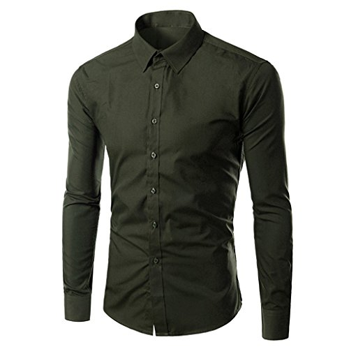 ZeggA Mens Oxford Cotton Slim Fit Dress Button-down Shirts Long Sleeve Dark Green US Small-(Asia Large)