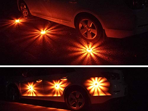 Tobfit 3 Pack LED Road Flares Emergency Lights Roadside Safety Beacon Disc Flashing Warning Flare Kit with Magnetic Base & Hook for Car Truck Boats | 9 Flash Modes (Batteries Not Included) (3) by Tobfit (Image #6)