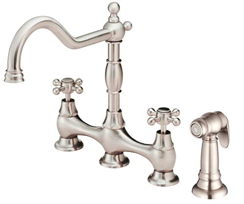 Danze D404457SS Opulence Two-Handle Bridge Kitchen Faucet with Side Spray, Stainless Steel Danze Stainless Steel Faucet