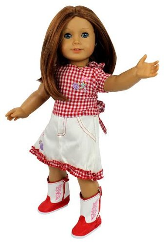 Dress Along Dolly Cowgirl Doll Outfit for American Girl Doll (Includes Checkered Shirt, Skirt, Pair of Cowgirl Boots)