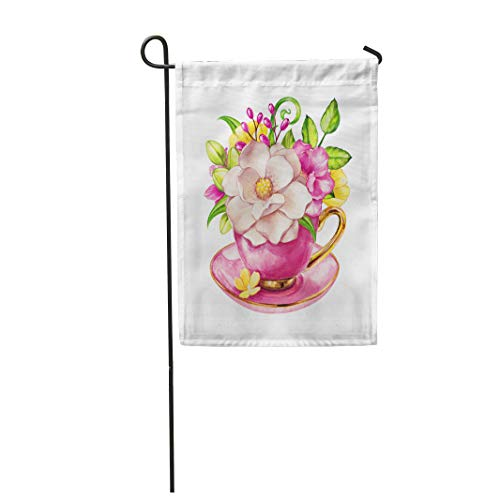 (Semtomn Garden Flag 12x18 Inches Print On Two Side Polyester Elegant Bunch of Flowers Magnolia in The Tea Cup Watercolor Home Yard Farm Fade Resistant Outdoor House Decor)