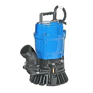 Tsurumi HS2.4S; semi-vortex submersible trash pump w/agitator, 1/2hp, 115V, 2 discharge