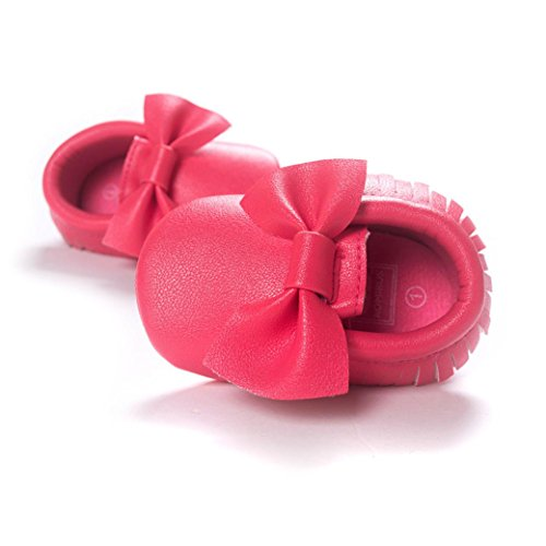 Voberry Baby Boys Girls Soft Soled Tassel Bowknots Crib Shoes PU Moccasins (0~6M, Hot Pink) by Voberry (Image #1)