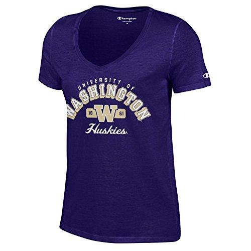 (Champion NCAA Women's University Short Sleeve Tagless V-Neck Tee Washington Huskies X-Large)