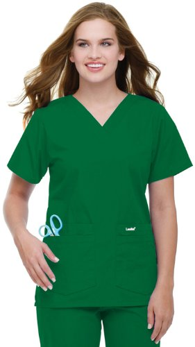 - Landau Women's 4 Pocket V-Neck Scrub Top, Hunter Green, X-Large