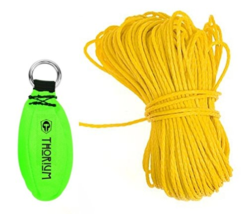 Thorium Slingshot Launcher Arborist Throw Weight Bag Pouch Set Kit Bright Green 12oz/340g complete with BONUS 150'/45m Throw Line Rope