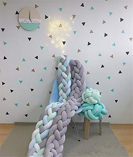 EU grey, GLITZFAS bed border baby bed knot cushion bumper baby cot bumper 3 weaving edge protection head guard braided bed snake decoration crib 2 m // 3 m 2M