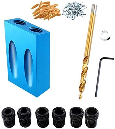 ZYL-YL Pocket Hole Jig Kit 6//8//10Mm Woodworking Angle Drill Guide Set Hole Puncher Locator Jig Drill Bit Set for DIY Carpentry Tools