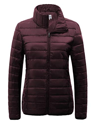 SUNDAY ROSE Packable Puffer Jacket Women Slim Fit Lightweight Quilted Jacket (Burgundy, Large) (Shiny Jacket Padded)