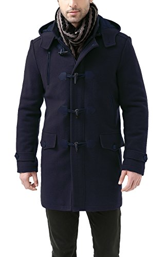 - BGSD Men's 'Tyson' Wool Blend Leather Trimmed Toggle Coat - Navy M