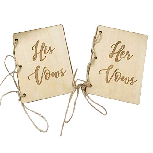 BESTOYARD 2Pcs Creative His and Her Vow Books Brown Kraft Paper Booklet for Wedding Journal Engagement Gift