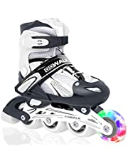 GOWALK Skating Shoes | LED Light Up Wheels | Converts from Tri-Wheel to Inline Skates | Outdoor and Indoor Roller skates for Beginners | Skating shoe for kids and Teen |