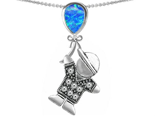 Star K Boy Holding a Balloon Mother October Birthstone Pear Shape Simulated Blue Opal Pendant