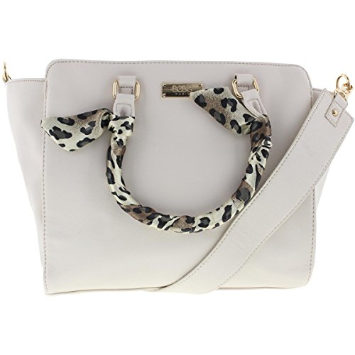 BCBG Paris Womens Faux Leather Animal Print Satchel Handbag Beige Medium ()