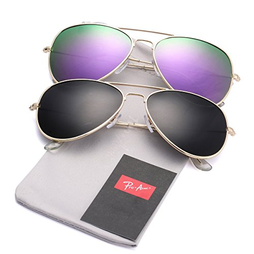 a5580455e2 Pro Acme Classic Polarized Aviator Sunglasses for Men and Women UV400  Protection (2 Pairs) Gold Frame Black Lens + Gold Frame Purple Mirrored Lens  - Buy ...