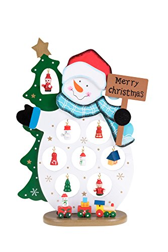 Wooden Snowman Table Top Decoration From Clever Creations | Traditional Winter or Christmas Theme with Blue Painted Scarf | 11 Mini Ornaments | 100% Real Wood | Collectable | Stands 10