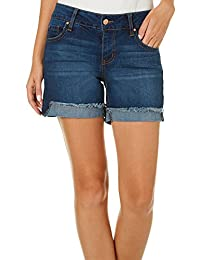 """Celebrity Pink Jeans womens Celebrity Pink Mid Rise 5"""" Fray Flip Cuff Short"""