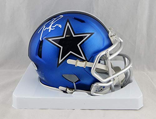 (Tony Romo Autographed Mini Helmet - Blaze Beckett Auth *Silver - Beckett Authentication - Autographed NFL Mini Helmets)