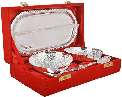 Merchant Crafts Brass Bowl Set  Silver