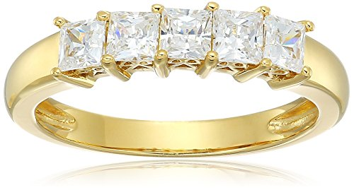 Yellow-Gold-Plated Sterling Silver Princess-Cut 5-Stone Ring made with Swarovski Zirconia (1 cttw), Size 8