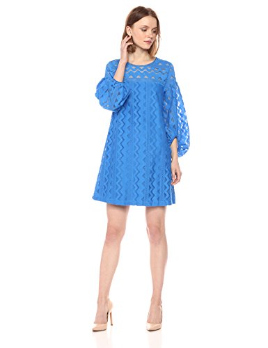 Laundry by Shelli Segal Women's A-line Lace Dress with Full Sleeve, Ocean Blue ()