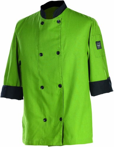 Chef Revival J134MT 24/7 Poly Cotton 3/4 Sleeve Fresh Chef Jacket with Black Trim and Flat Black Button, Medium, Mint Green by Chef Revival