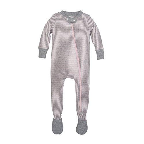 Burt's Bees Baby Baby Organic Zip Front Sleeper, Blossom/Heather Grey Classic Stripe, 0-3 (Baby Sleeper)
