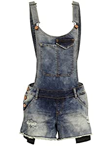 BEKDO Womens Vintage Inspired Trendy Cloud Washed Denim Overall Shorts-XL-CLOUD