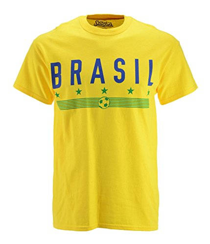 Stitches Athletic Gear Mens Brasil Graphic T-Shirt Yellow M