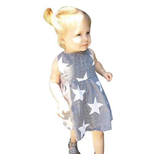 Vovotrade Toddler Girls Summer Sleeveless Beach Sundress Star Stripe Dress (2T, Gray)