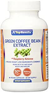 Pure Green Coffee Bean Extract Pills, 800mg GCA® (50% Chlorogenic Acid) Plus 100mg of Raspberry Ketones (Potent dosage of 900mg) - Natural Organic Ingredients - Ultra Quick Weight Loss Supplements - Lose Weight Fast With 60 Max Strength Fat Burner Diet Pills - GUARANTEED