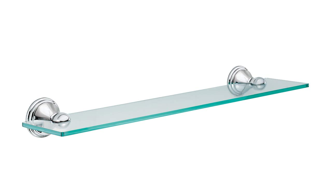 Moen DN8490CH Preston Collection 19.5-Inch Wide x 4-Inch Deep Decorative Glass Bathroom Vanity Shelf, Chrome by Moen
