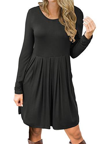 MIHOLL Womens Casual Pleated Long Sleeve Pockets Loose Swing Dress