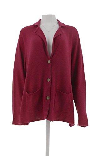 Liz Claiborne Women Clothing - Liz Claiborne Cotton Cashmere Blazer Elbow Patches Berry Heather XL New A256447