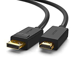 UGREEN 4K UHD DP to HDMI Cable Male to Male Displayport to HDMI Video Cable DisplayPort to HDTV Monitor Cable Support Audio for HP EliteBook,HTC Vive Virtual Reality System and DP Enabled Devices 6FT