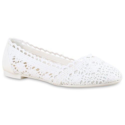 Stiefelparadies Damen Ballerinas Spitze Schleifen Flats Vintage Slipper Ballerina Sommer Schuhe Flandell Weiss Strick