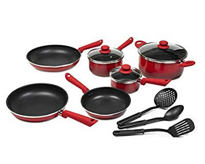 Victoria Gradient Color Nonstick 12-Piece Cookware Set with Glass Lids, Red to Black